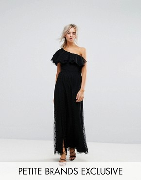 photo One Shoulder Maxi Dress in Dotty Mesh by John Zack Petite, color Black - Image 1