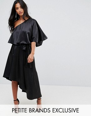 photo Ruffle One Shoulder Midi Dress by John Zack Petite, color Black - Image 1