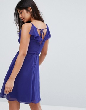 photo Belted Skater Dress with Frill Overlay by Zibi London, color Sax Blue - Image 2