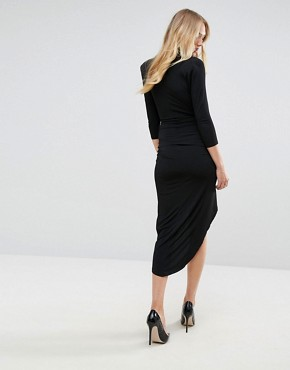 photo Plunge Front Wrap Midi Dress by John Zack Tall, color Black - Image 2