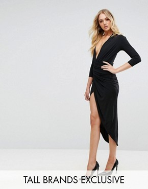 photo Plunge Front Wrap Midi Dress by John Zack Tall, color Black - Image 1