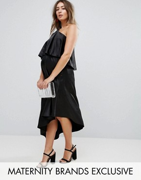 photo Ruffle One Shoulder Midi Dress by Queen Bee Maternity, color Black - Image 1