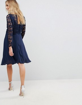 photo Lace Overlay Midi Dress by Queen Bee Maternity, color Navy - Image 2