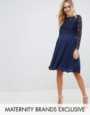 photo Lace Overlay Midi Dress by Queen Bee Maternity, color Navy - Image 1