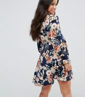 photo Floral Swing Dress with Tie Sleeve Detail by Queen Bee, color Black Floral - Image 2