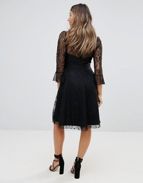 photo Lace Top Prom Skater Dress with Bra Top Detail by Queen Bee, color Black - Image 2