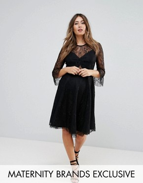 photo Lace Top Prom Skater Dress with Bra Top Detail by Queen Bee, color Black - Image 1