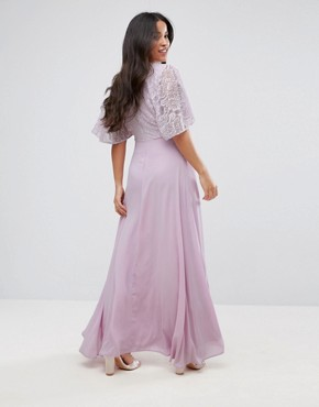 photo Maxi Dress with Fluted Lace Sleeve by Queen Bee, color Lavender - Image 2