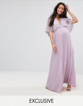 photo Maxi Dress with Fluted Lace Sleeve by Queen Bee, color Lavender - Image 1
