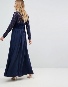 photo Over Lace Top Maxi Dress with Open Back by Queen Bee, color Navy - Image 2