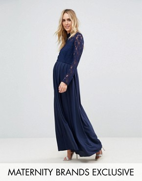 photo Over Lace Top Maxi Dress with Open Back by Queen Bee, color Navy - Image 1