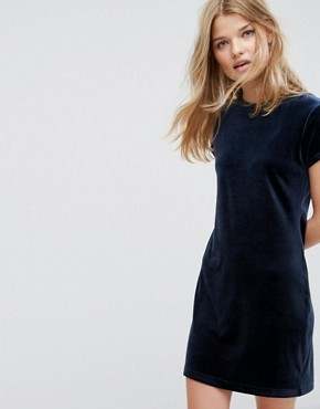 photo Crushed Velvet T-shirt Dress by Weekday, color Navy - Image 1