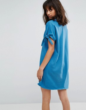 photo Jersey Dress with Tie Sleeves by Weekday, color Blue - Image 2