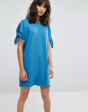 photo Jersey Dress with Tie Sleeves by Weekday, color Blue - Image 1