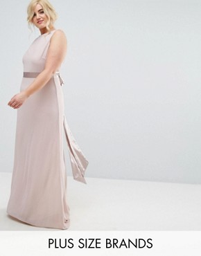 photo Sateen Bow Back Maxi Dress by TFNC Plus WEDDING, color Pink - Image 1
