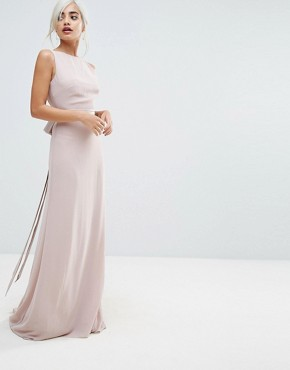 photo Sateen Bow Back Maxi Dress by TFNC Petite WEDDING, color Pink - Image 2