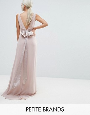 photo Sateen Bow Back Maxi Dress by TFNC Petite WEDDING, color Pink - Image 1