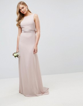 photo Sateen Bow Back Maxi Dress by TFNC Tall WEDDING, color Pink - Image 2