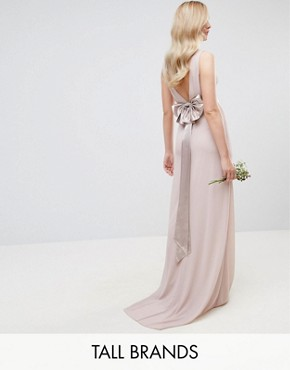 photo Sateen Bow Back Maxi Dress by TFNC Tall WEDDING, color Pink - Image 1