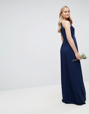 photo High Neck Pleated Maxi Dress by TFNC Tall WEDDING, color Navy - Image 2