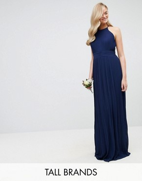 photo High Neck Pleated Maxi Dress by TFNC Tall WEDDING, color Navy - Image 1