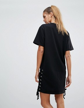 photo Lace Up Side Jersey Shift Dress by Chorus, color Black - Image 2