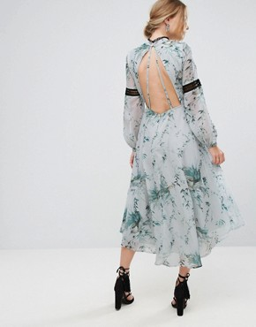 photo Printed Open Back Midi Dress with Lace Inserts by Hope & Ivy, color Multi Mint - Image 2