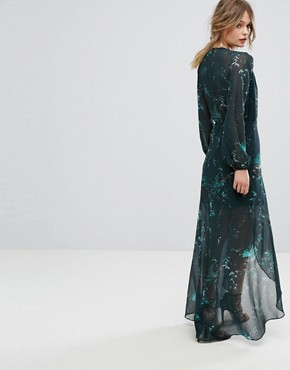 photo Long Sleeve Wrap Detail Floral Maxi Dress by Hope & Ivy, color Multi Green - Image 2
