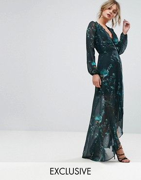 photo Long Sleeve Wrap Detail Floral Maxi Dress by Hope & Ivy, color Multi Green - Image 1