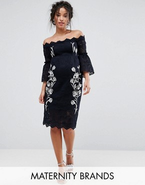 photo Bardot Lace Pencil Dress with Embroidery by Hope & Ivy Maternity, color Navy - Image 1