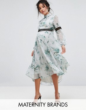 photo Printed Open Back Midi Dress with Lace Inserts by Hope & Ivy Maternity, color Multi Mint - Image 1