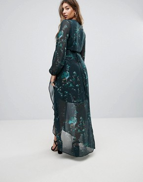 photo Long Sleeve Wrap Detail Floral Maxi Dress by Hope & Ivy Maternity, color Multi Green - Image 2