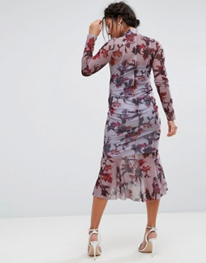photo Long Sleeve Floral Printed Mesh Dress with Peplum Hem by Hope & Ivy Maternity, color Multi Lilac - Image 2