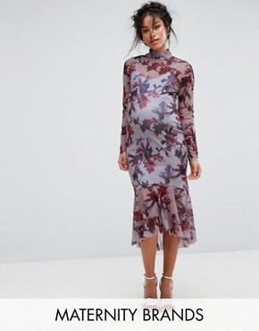 photo Long Sleeve Floral Printed Mesh Dress with Peplum Hem by Hope & Ivy Maternity, color Multi Lilac - Image 1