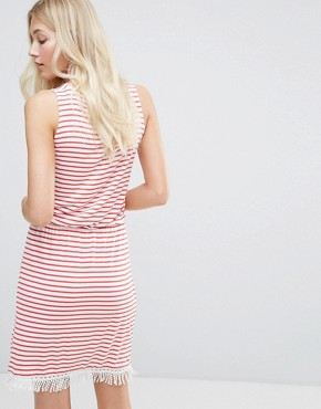 photo Simone Striped Wrap Dress by Blend She, color Hibiscus - Image 2