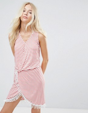 photo Simone Striped Wrap Dress by Blend She, color Hibiscus - Image 1