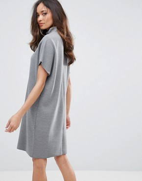 photo Luisa High Neck Cocoon Dress by Selected, color Med Grey Marl - Image 2