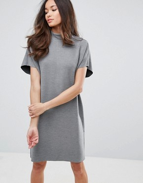 photo Luisa High Neck Cocoon Dress by Selected, color Med Grey Marl - Image 1