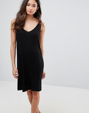photo Lulla V-Neck Slip Dress by Selected, color Black - Image 1