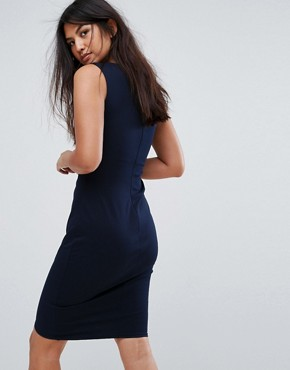 photo Wrap Front Dress with Embroidery Detail by Jessica Wright, color Navy - Image 2