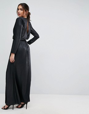 photo Metallic Twist Front Maxi Dress with Shoulder Pads by ASOS, color Metallic Black - Image 2