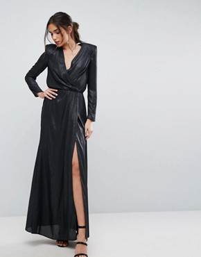 photo Metallic Twist Front Maxi Dress with Shoulder Pads by ASOS, color Metallic Black - Image 1