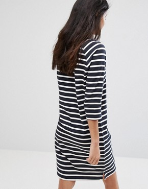 photo Natali 3/4 Sleeve Striped Jersey Shift Dress by Selected, color Dark Sapphire - Image 2