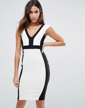 photo Pencil Dress with Contrast Piping by Vesper, color Black White - Image 1
