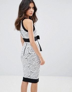 photo Pencil Dress with Lace Insert by Vesper, color Black White - Image 2