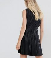 photo Pleated Plunge Grecian Mini Dress by Oh My Love, color Black - Image 2