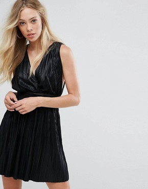 photo Pleated Plunge Grecian Mini Dress by Oh My Love, color Black - Image 1
