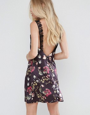 photo Satin Cami Mini Dress with Lace Insert by Oh My Love, color Dark Floral - Image 2