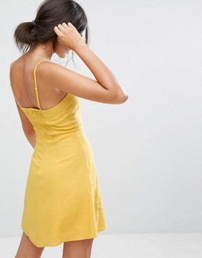 photo Lattice Front Dress by Bershka, color Yellow - Image 2