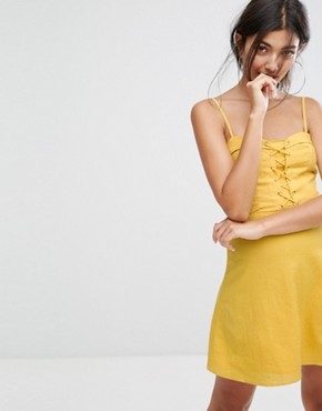 photo Lattice Front Dress by Bershka, color Yellow - Image 1